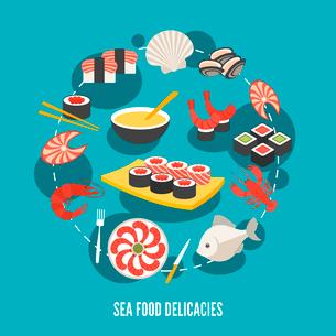 Sea food fish menu restaurant japanese delicacies flat decorative icons set vector illustrationのイラスト素材 [FYI03065726]