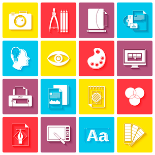 Graphic design icons set with palette sketching digital designer isolated vector illustrationのイラスト素材 [FYI03065727]