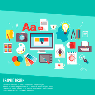 Graphic design concept icons set with palette creativity process digital designer isolated vector ilのイラスト素材 [FYI03065728]