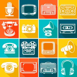 Vintage retro media gadgets icons set of headphones vinyl player tv isolated vector illustrationのイラスト素材 [FYI03065737]