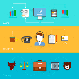 Finance exchange flat banner set with work contact money isolated vector illustrationのイラスト素材 [FYI03065746]