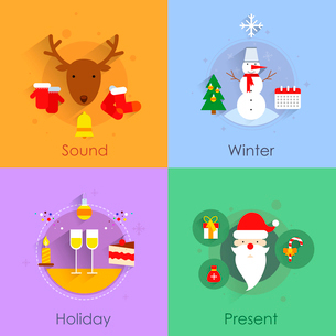 Christmas icons flat set with holiday sound winter present isolated vector illustrationのイラスト素材 [FYI03065752]