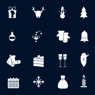 Christmas new year white icons set with decoration ball candy cane warm gloves isolated vector illusのイラスト素材 [FYI03065755]
