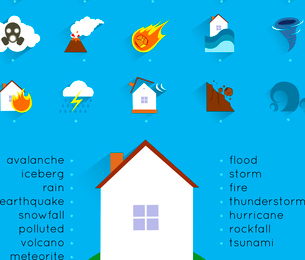 Natural disaster accident concept with danger icons set and house vector illustrationのイラスト素材 [FYI03065756]