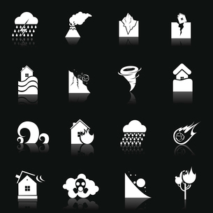 Natural disaster danger white icons set with thunderstorm volcano earthquake isolated vector illustrのイラスト素材 [FYI03065759]