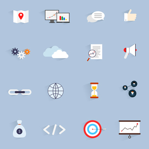 SEO marketing software optimisation analysis network icons flat set isolated vector illustrationのイラスト素材 [FYI03065760]