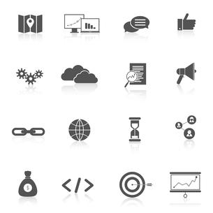 SEO marketing training landing search web site black icons set isolated vector illustrationのイラスト素材 [FYI03065761]