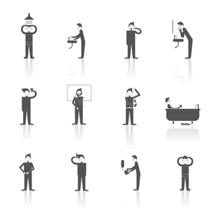 Hygiene icons black set with people figures facial and body care using isolated vector illustrationのイラスト素材 [FYI03065762]