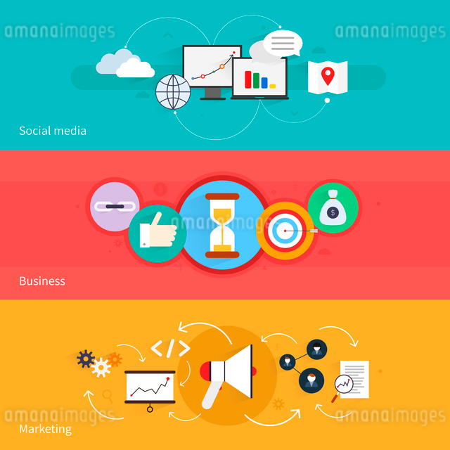 SEO marketing horizontal banner set with social media business isolated vector illustrationのイラスト素材 [FYI03065763]