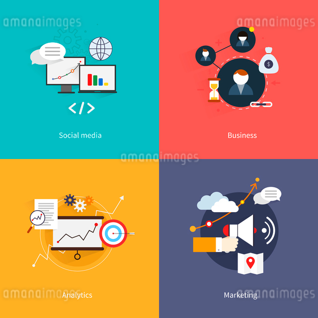SEO marketing flat icons set with social media business analytics isolated vector illustrationのイラスト素材 [FYI03065764]