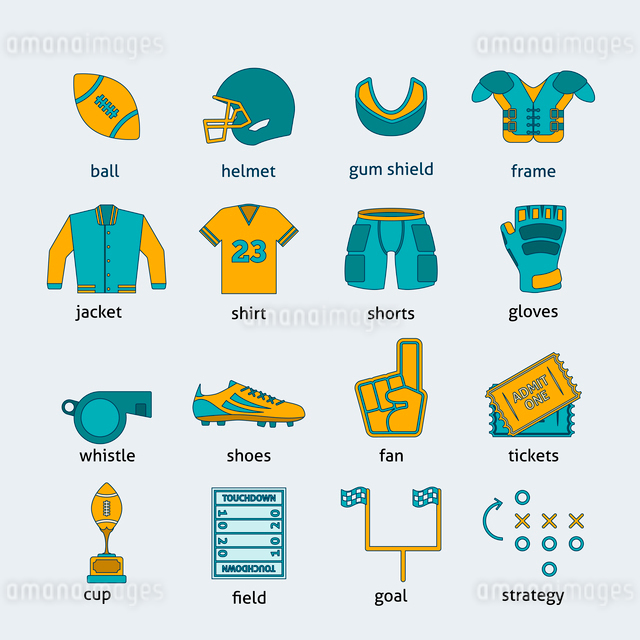 Rugby sport game accessories flat line icons collection with ball helmet entry tickets abstract isolのイラスト素材 [FYI03065767]