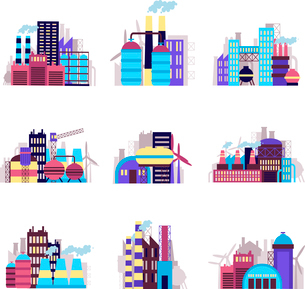 Industrial city construction building factories and plants icons set isolated vector illustrationのイラスト素材 [FYI03065779]