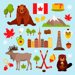 Canada colored decorative icons set with hockey maple syrup beaver isolated vector illustrationのイラスト素材 [FYI03065780]