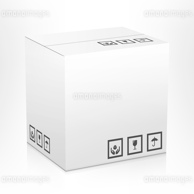 White closed carton delivery parcel packing box with fragile signs isolated on white background vectのイラスト素材 [FYI03065783]