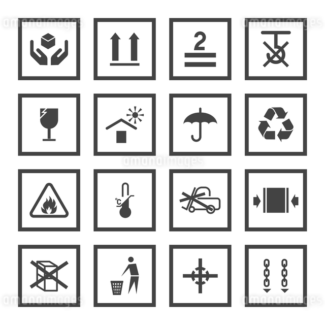 Handling and packing black icons set with fragile warning care symbols vector illustrationのイラスト素材 [FYI03065786]