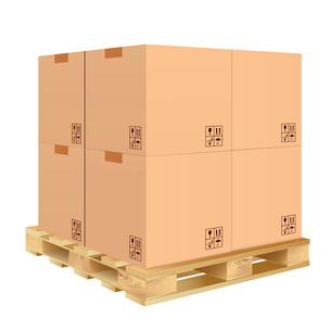 Brown closed carton delivery packaging box with fragile signs on wooden pallet isolated on white bacのイラスト素材 [FYI03065787]