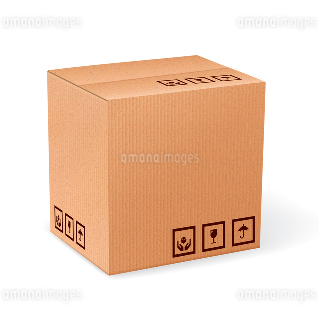 Brown closed carton delivery packaging box with fragile signs isolated on white background vector ilのイラスト素材 [FYI03065790]