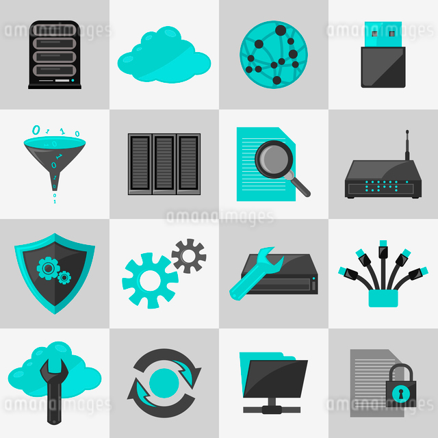 Database information technology network management icons flat set isolated vector illustrationのイラスト素材 [FYI03065791]