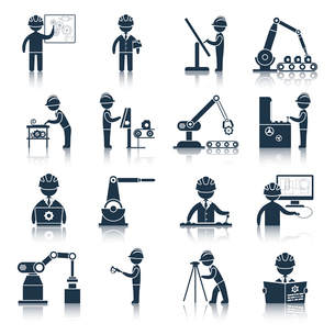 Engineering construction process factory production black icons set isolated vector illustrationのイラスト素材 [FYI03065797]