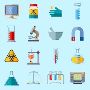 Science and research laboratory icons set with monitor poison protective gloves flask isolated vectoのイラスト素材 [FYI03065798]