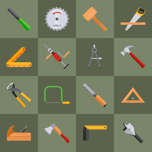 Carpentry wood work tools and equipment with pliers axe saw icons set isolated vector illustrationのイラスト素材 [FYI03065802]