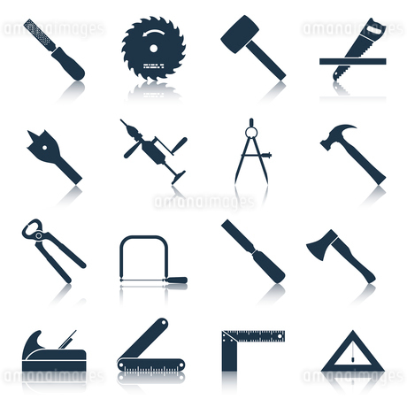 Carpentry wood work tools and equipment black icons set isolated vector illustrationのイラスト素材 [FYI03065804]