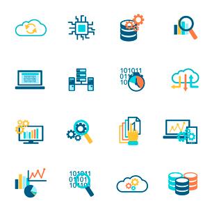 Database analytics information technology network management icons flat set isolated vector illustraのイラスト素材 [FYI03065807]