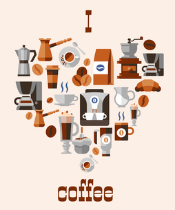 Love coffee concept with grinder hot cup pack cream beans turk french press decorative icons vectorのイラスト素材 [FYI03065815]