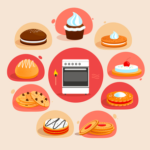 Sweet sugar tasty food cookies bakery decorative icons set with oven in the middle isolated vector iのイラスト素材 [FYI03065823]