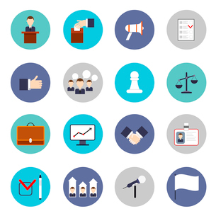 Elections and voting flat icons set with discussion microphone rating isolated vector illustrationのイラスト素材 [FYI03065824]