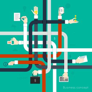 Human hands holding different devices flat line abstract business concept vector illustrationのイラスト素材 [FYI03065825]