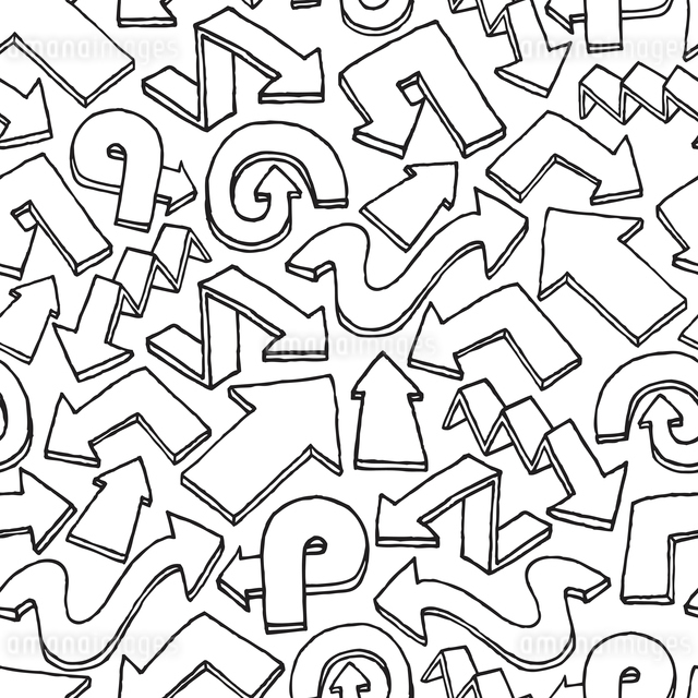 Seamless arrow vector pattern / Hand drawn backgroundのイラスト素材 [FYI03065830]