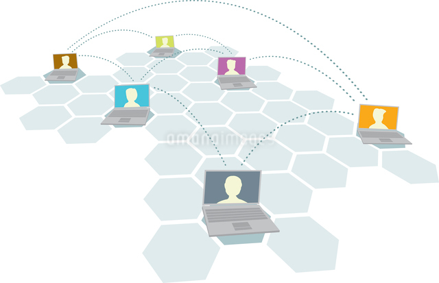 Computer and people network / Multiple usersのイラスト素材 [FYI03065856]