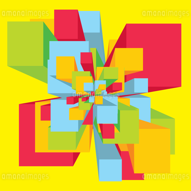 Abstract geometric illustration of a digital explosion full of colorsのイラスト素材 [FYI03065877]