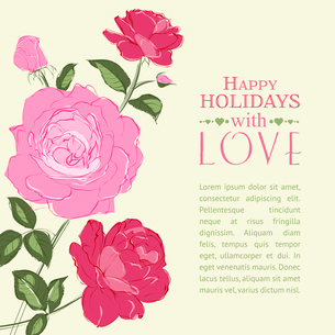 Invitation card with a roses. Vector illustration.のイラスト素材 [FYI03065944]