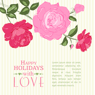 Invitation card with a roses. Vector illustration.のイラスト素材 [FYI03065945]