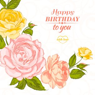 Invitation card with a roses. Vector illustration.のイラスト素材 [FYI03065954]