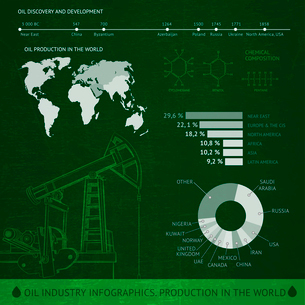 Map of world, Icons of oil pump, and Information Graphics. Vector illustration.のイラスト素材 [FYI03065972]