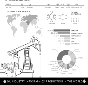 Oil derrick infographic with stages of process oil production.のイラスト素材 [FYI03065979]
