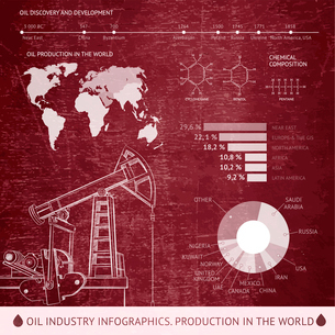 Oil derrick infographic with stages of process oil production.のイラスト素材 [FYI03065988]