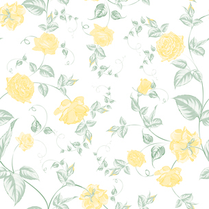 Seamless texture of pastel yellow  roses for textiles. Vector illustration.のイラスト素材 [FYI03066194]
