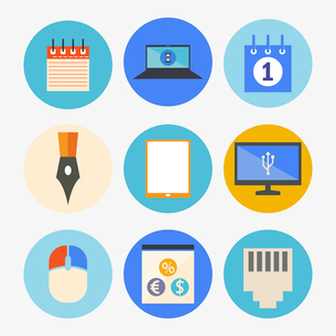 Office and Business Icons Set in Flat Designのイラスト素材 [FYI03066212]