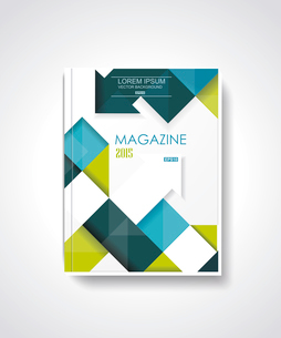 Magazine or brochure template design with cubes and arrows elements.のイラスト素材 [FYI03066229]