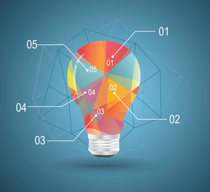 Infographic Template with Light bulbs geometric design.のイラスト素材 [FYI03066276]