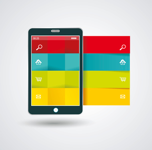 Smartphone with stylish modern colorful user interface on a screen.のイラスト素材 [FYI03066293]