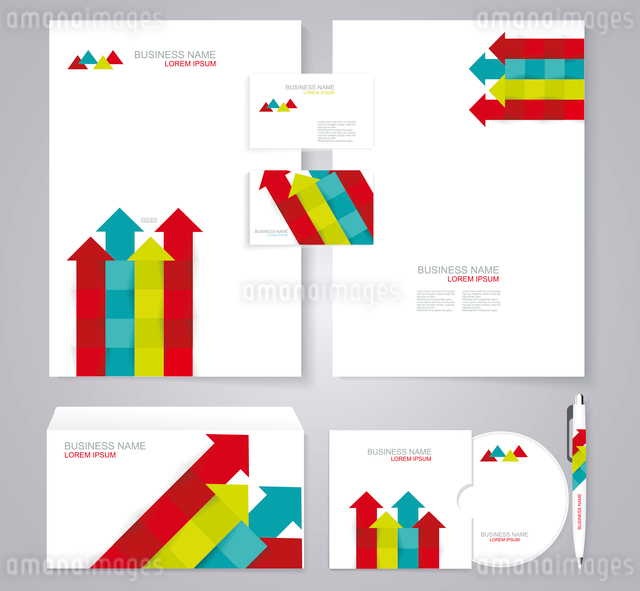 Corporate identity template with color srrows elements.のイラスト素材 [FYI03066303]