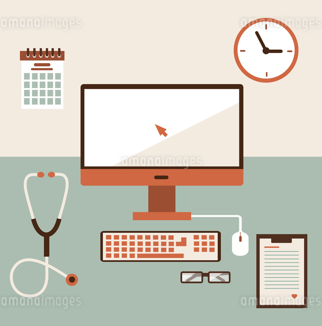 Medical workplace. Flat design.のイラスト素材 [FYI03066346]