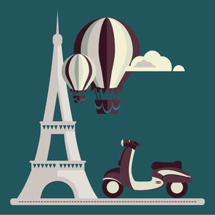Eiffel Tower Paris scooter Air Balloon Clouds vector/illustrationのイラスト素材 [FYI03066361]
