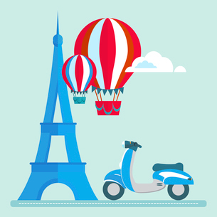 Eiffel Tower Paris scooter Air Balloon Clouds vector/illustrationのイラスト素材 [FYI03066363]