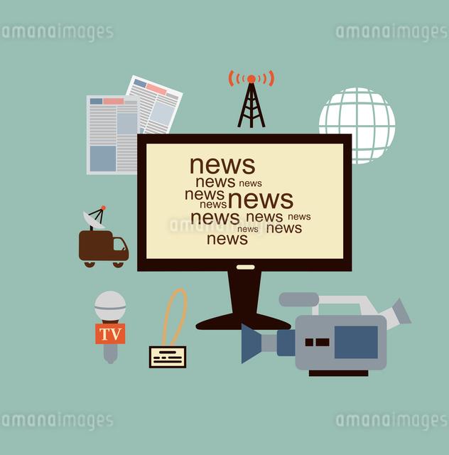 journalist says TV news illustration. Flat modern style vector designのイラスト素材 [FYI03066368]
